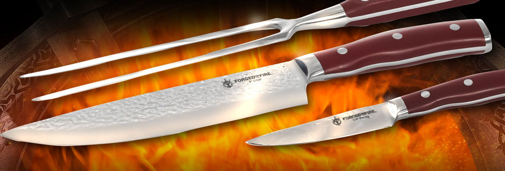 forged fire kitchen knife