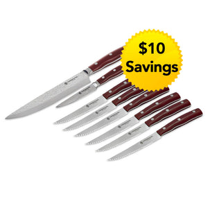Chef Knife, Paring Knife & 6-Piece Steak Knife Set