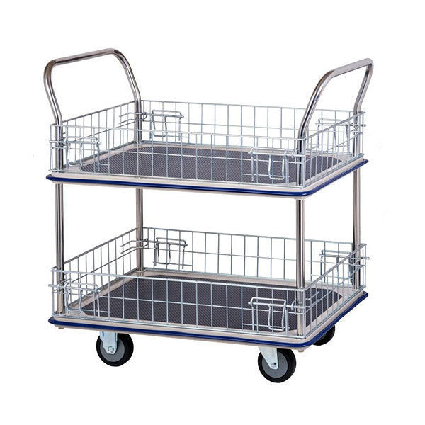 Two Level Platform Industrial Trolley Cart with Removable wire Sides | QualityJack