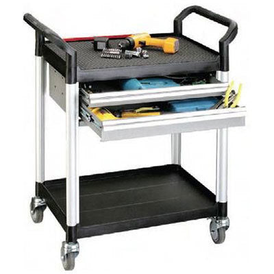 Twin Drawers Double Deck Tool Trolley | QualityJack