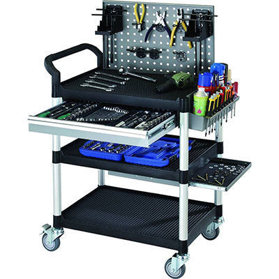 Triple Deck Service Cart Trolley with Tool Board & Drawer | QualityJack