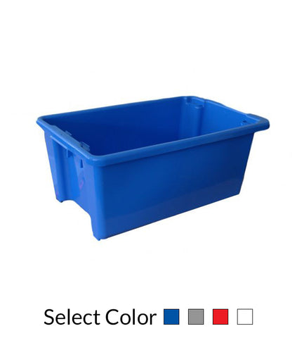 52L Plastic Crate Stack & Nest Container 645 X 413 X 276Mm - Blue Ih051 | SkyJacks