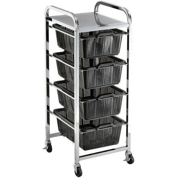 Quad Shelf Strainer Basket Trolley Cart Capacity 50Kg | QualityJack