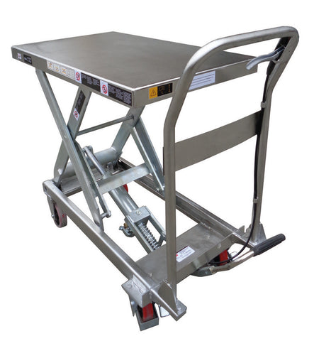 Stainless Steel Manual Hydraulic Scissor Lift Table 450kg Lift 890mm High | QualityJack