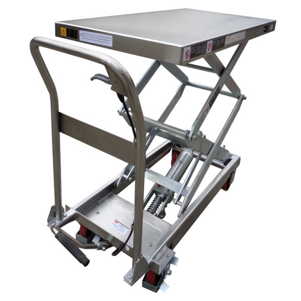 Stainless Steel manual Hydraulic Scissor Lifter Table 100Kg Lift 1220mm High | SkyJacks