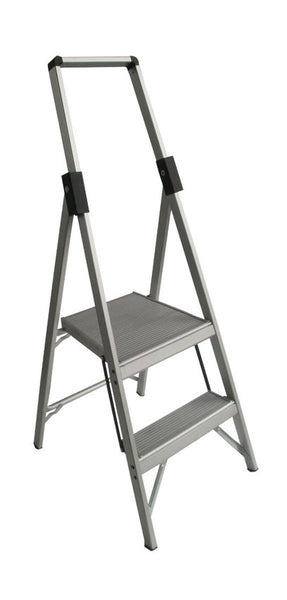 2 Step Aluminium Indalex  Stepladder Slimline Single Sided  600mm - Quality Jack
