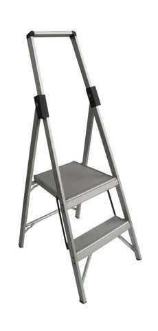 2 Step Aluminium Indalex  Stepladder Slimline Single Sided  600mm | QualityJack