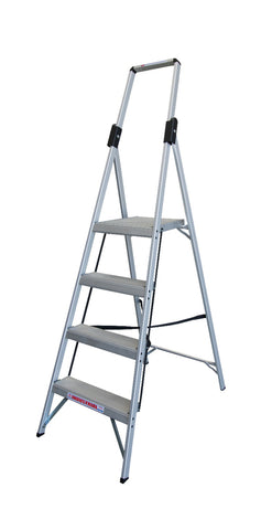 4 Step Aluminium Indalex  Stepladder Slimline Single Sided 1200mm - Quality Jack
