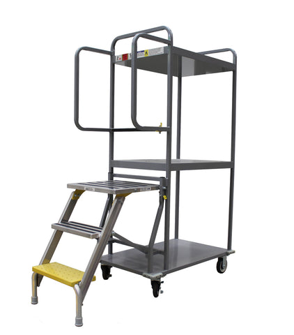 Stock & Order Picking Trolley with Foldable Platform Ladder 350kg | QualityJack