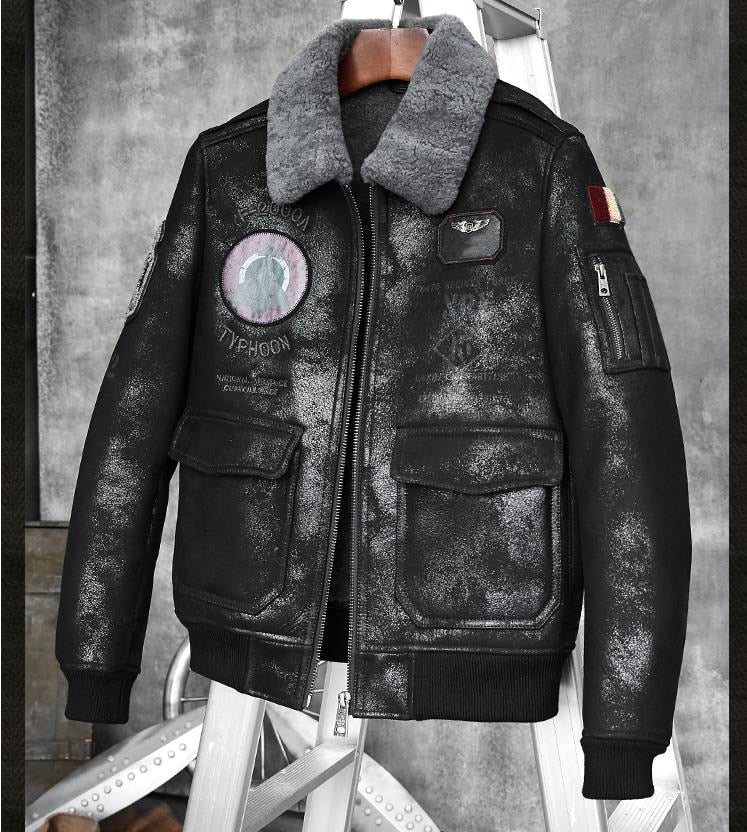Mens Leather Shearling B7 Bomber Jacket Street Style Fashion