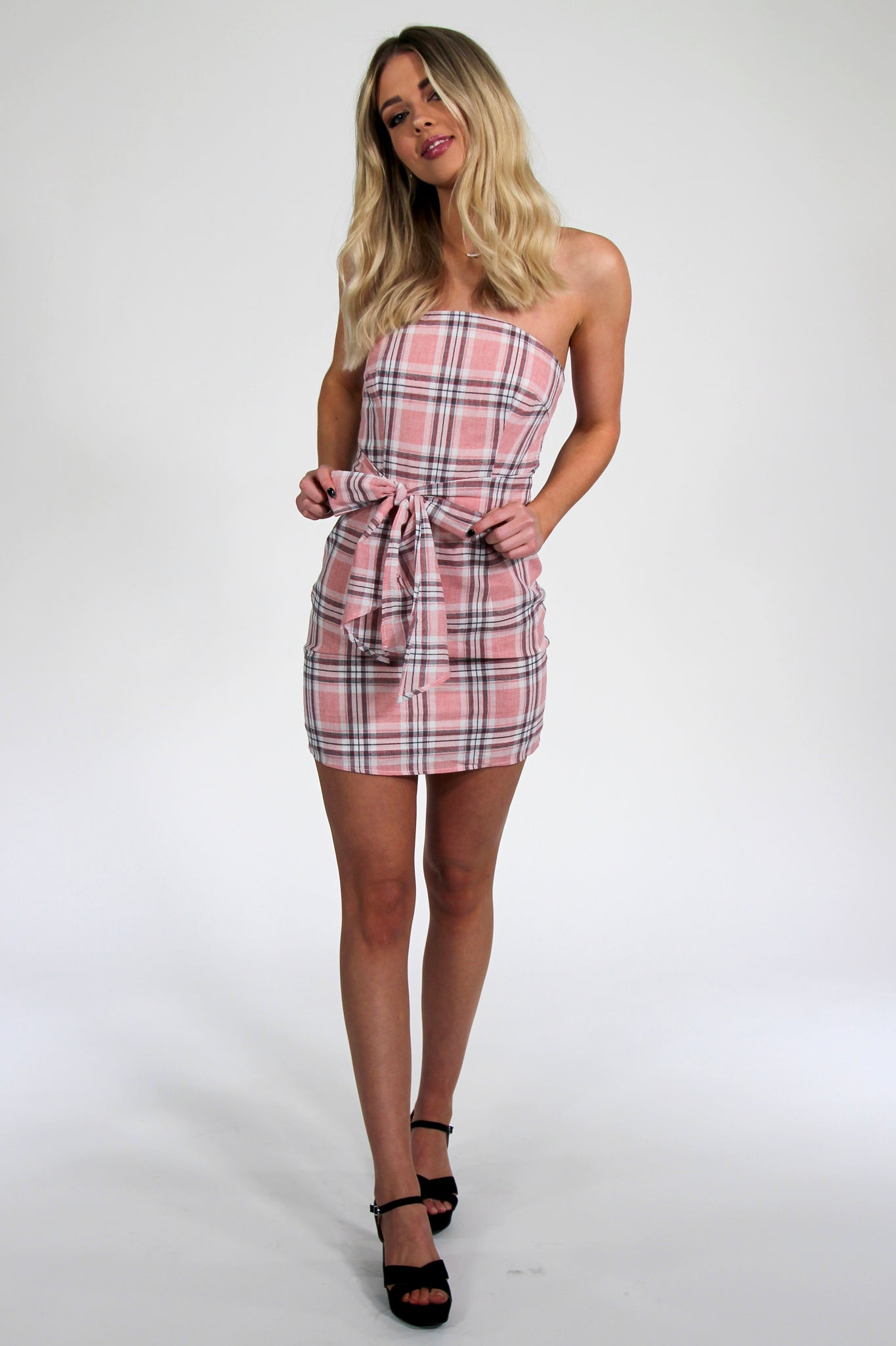 Get a Clue Pink Plaid Tube Dress