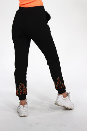 Girl on Fire Flame Decal Sweatpants