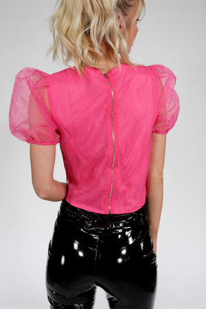 Totally Bitchin' Pink Puffy Sleeve Top