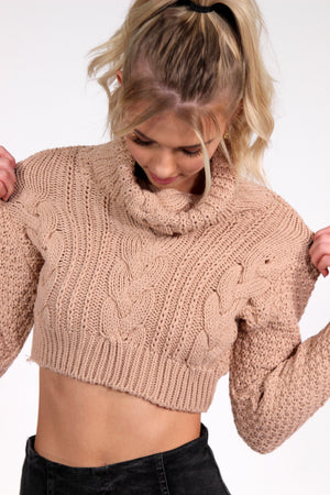 That's Amore Beige Cropped Sweater