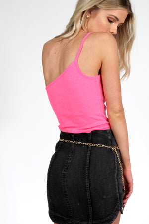 South Beach One Shoulder Cami PINK