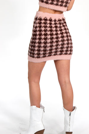 Lost in Paris Fuzzy Houndstooth Mini Skirt