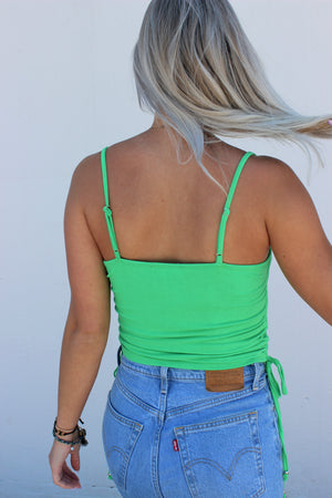 Eye Candy Green Side Ruched Tank