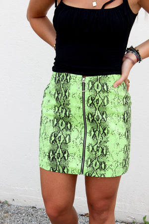 Neon Lights Green Snakeskin Skirt