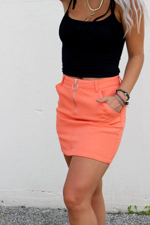 Santa Barbara Orange Denim Skirt