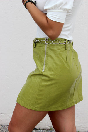 Melrose Faux Leather Skirt with Chain Belt