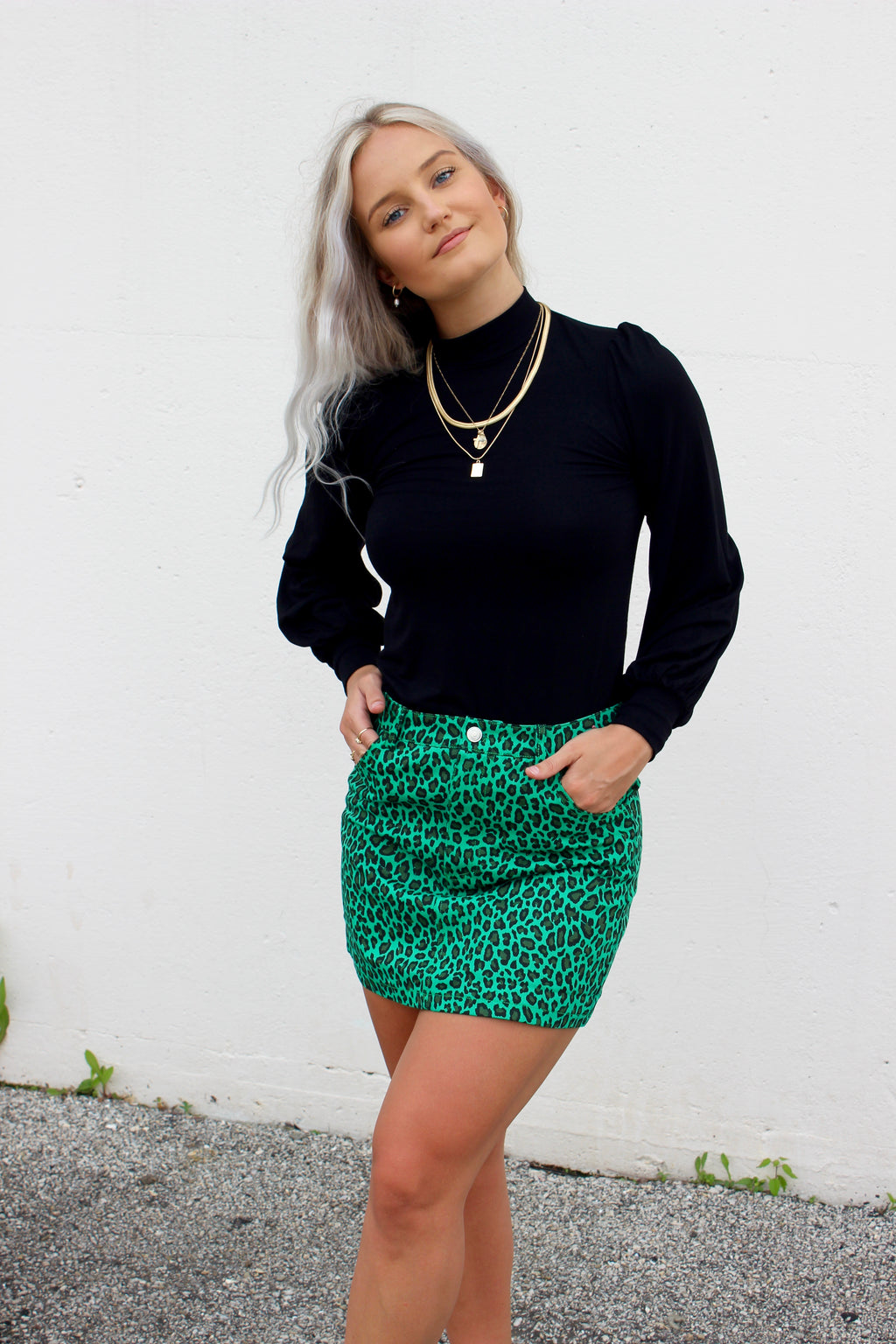 Fairfax Green Leopard Skirt