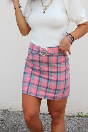 Beverly Pink and Blue Belted Plaid Skirt