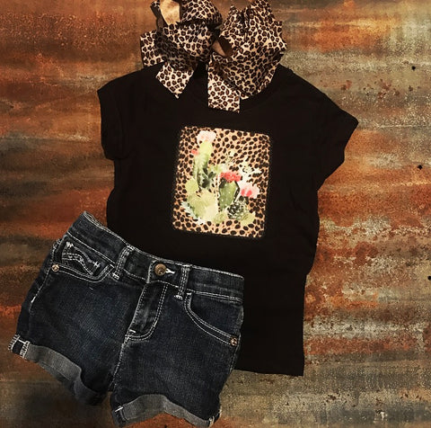 Cactus Flower & Leopard Girl's Shirt