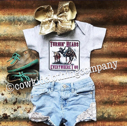 Turnin' Heads Steer Wrestler Onesie