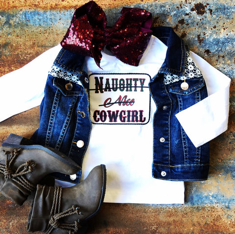 Naughty, Nice, Cowgirl Long Sleeve Shirt
