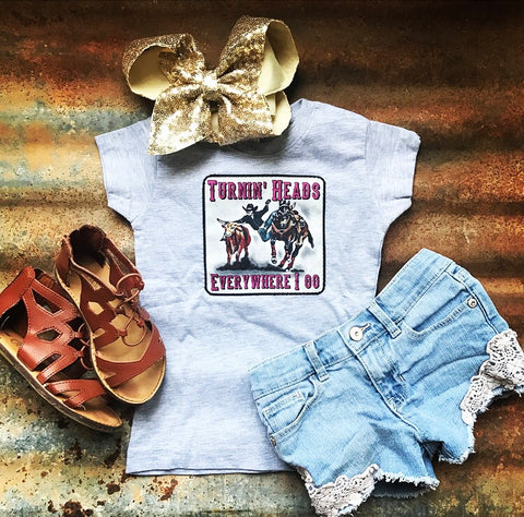 Turnin' Heads Steer Wrestler Girl's Shirt