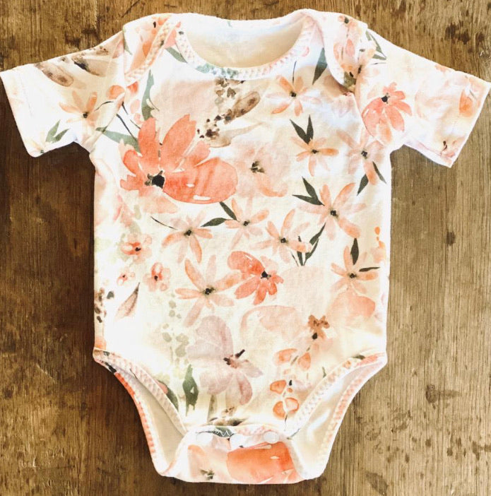 Bunny & Doll Organic Cotton Short Sleeve Body Suit  - Peach Floral
