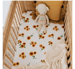 Snuggle Hunny Jersey Cot Sheets - Sunflower