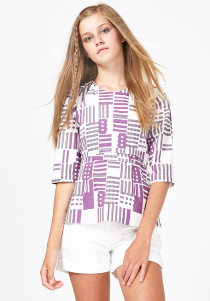 Purple Geometric Print Top With Bow