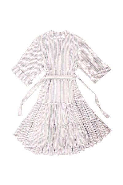 Multicolor Striped Ruffle Dress