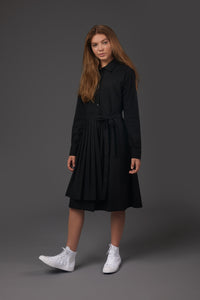 Black Pleated Overlay Dress