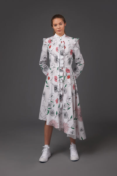 Flower Ruffle Shirt Dress