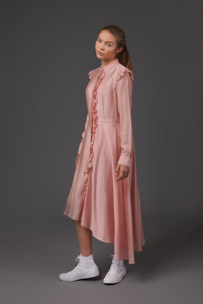Pink Ruffle Shirt Dress