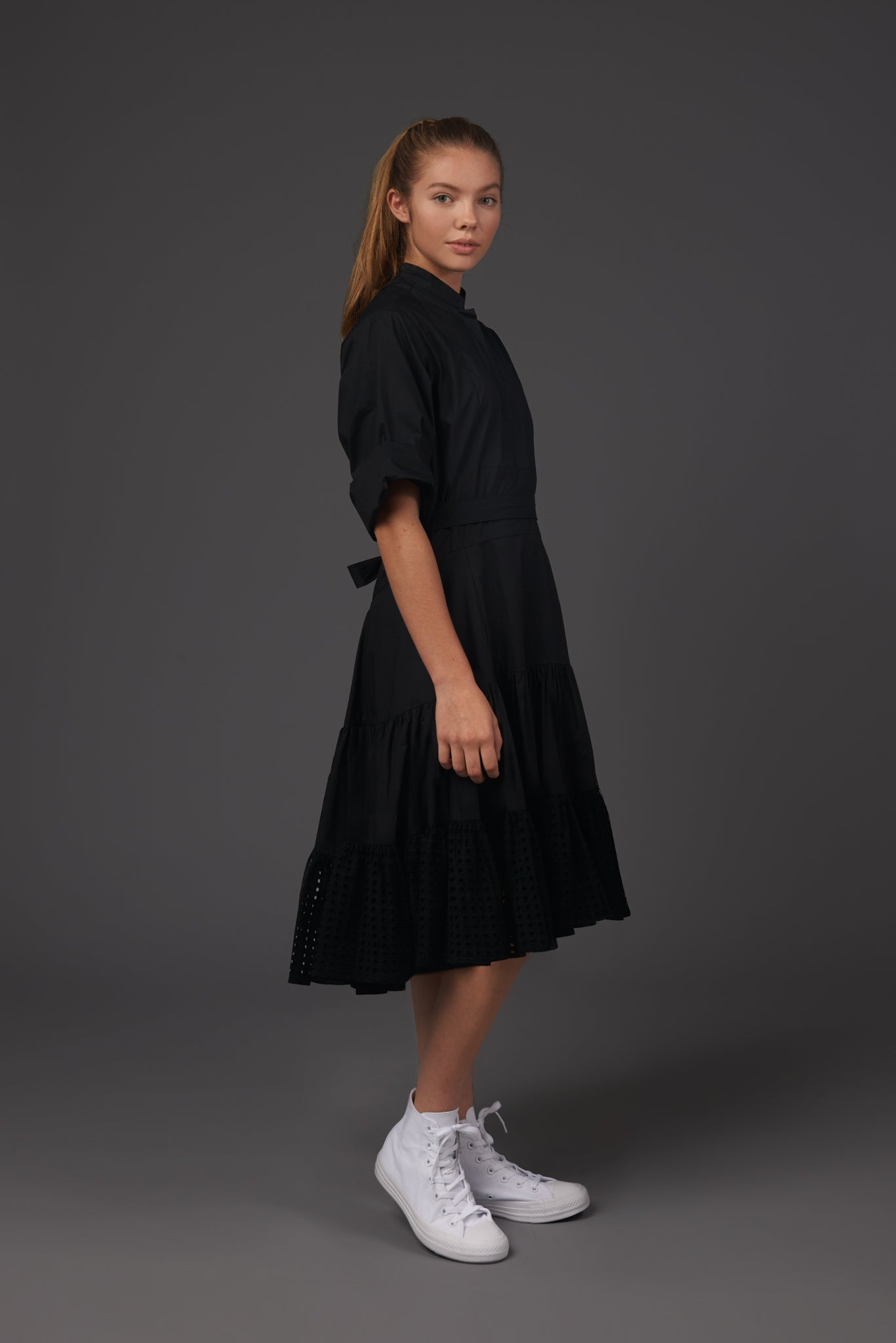 Black Ruffle With Eyelet Dress