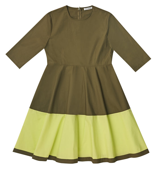 Khaki Color Block Dress