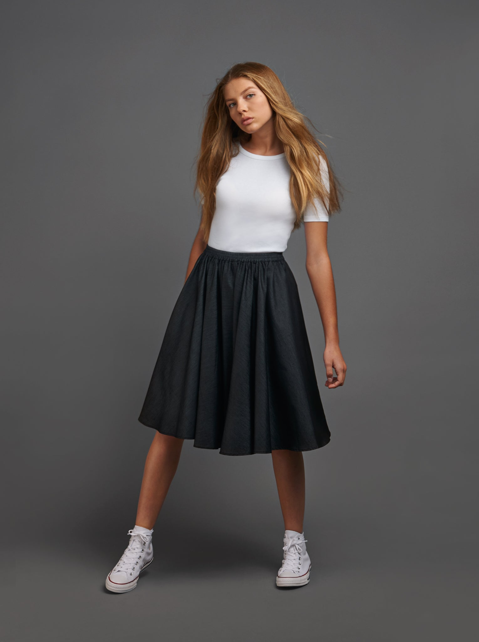 Black Denim Gathered Skirt