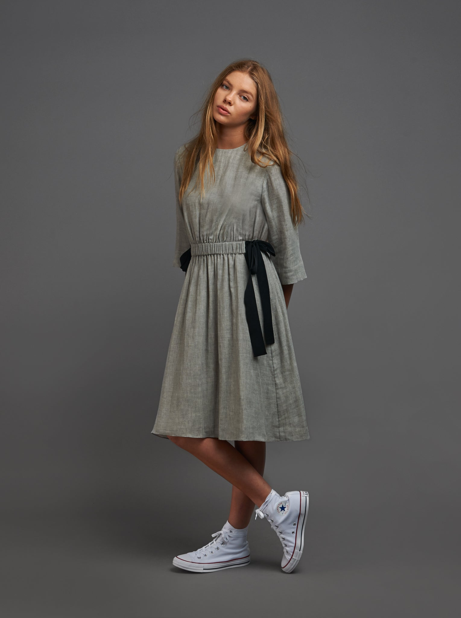 Grey Dress with Black Bows