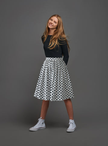 Polka Dot Gathered Skirt