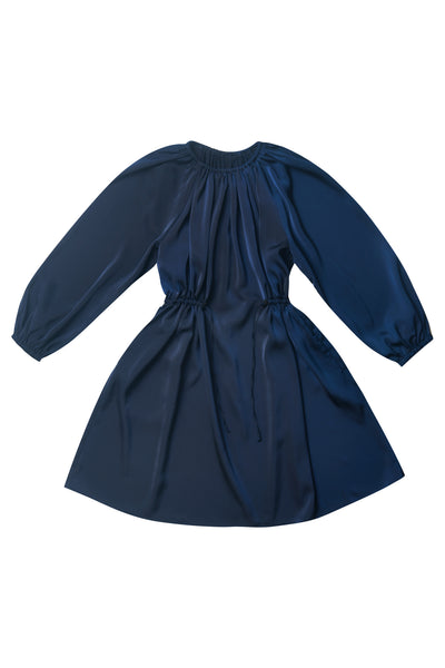 Navy Gathered Dress