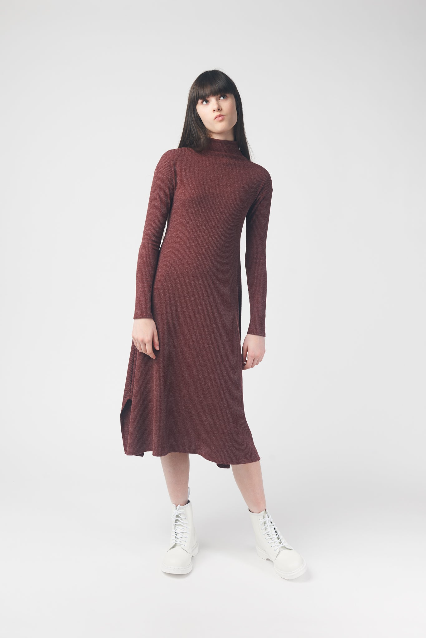 Burgundy Ribbed Sweater Dress