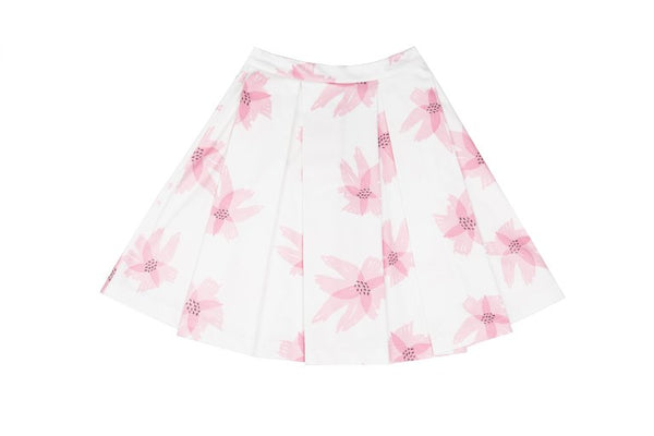 Pink Flower Big Pleated Skirt