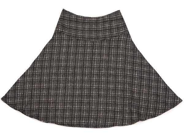Yoke Circular Skirt Black And White