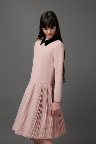 Pink With Black Collar Pleated Dress