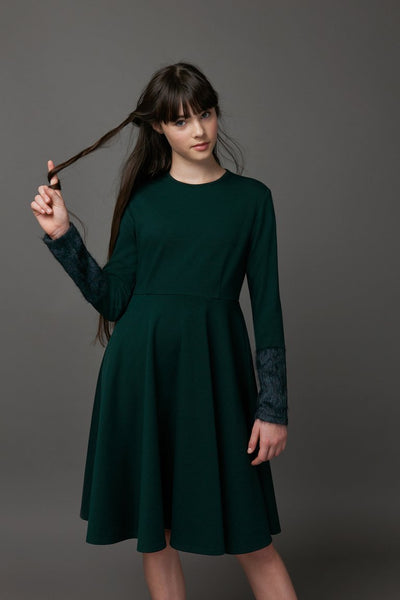 Green Dress With Fur Sleeves