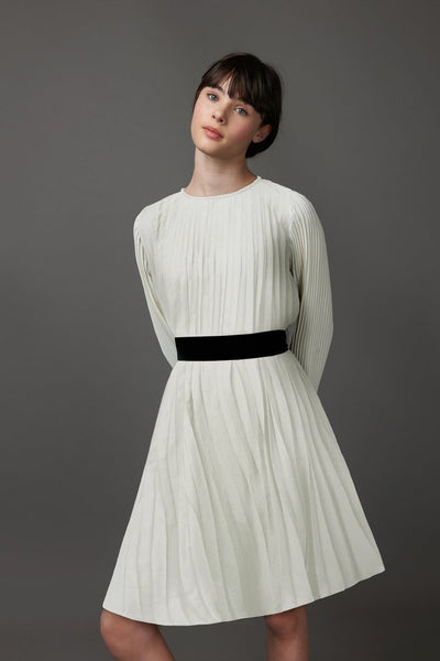 Ivory Pleated Dress