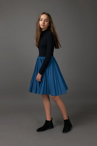 Denim Swing Pleated Skirt